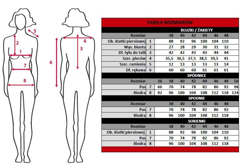 Tabela rozmiarów kolekcji Jumitex