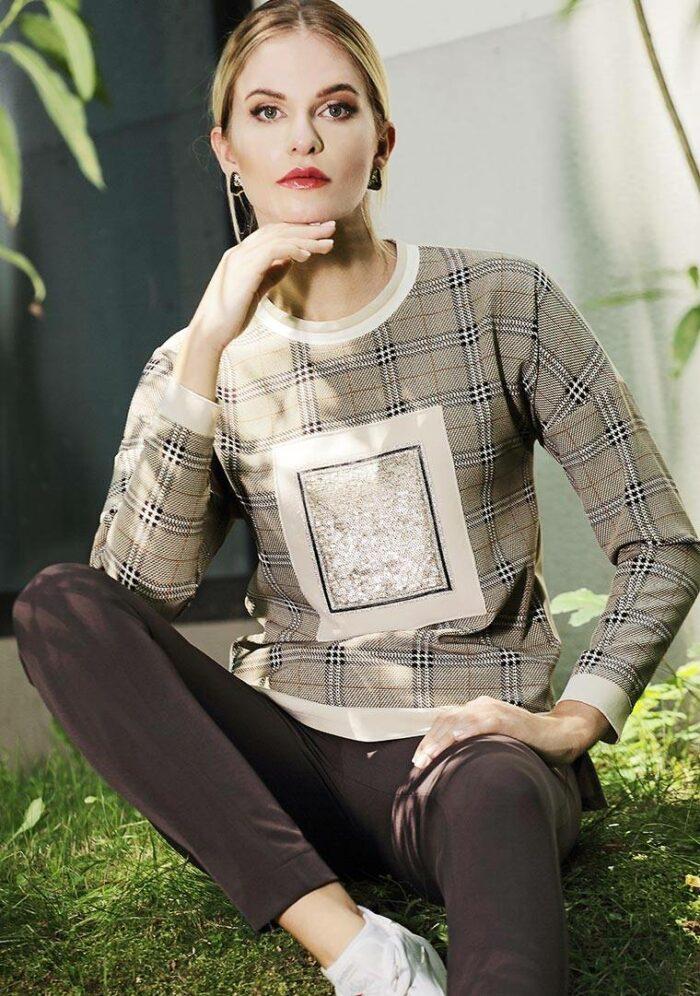 Bluza w kratę w kolorze brązowym z cekinami