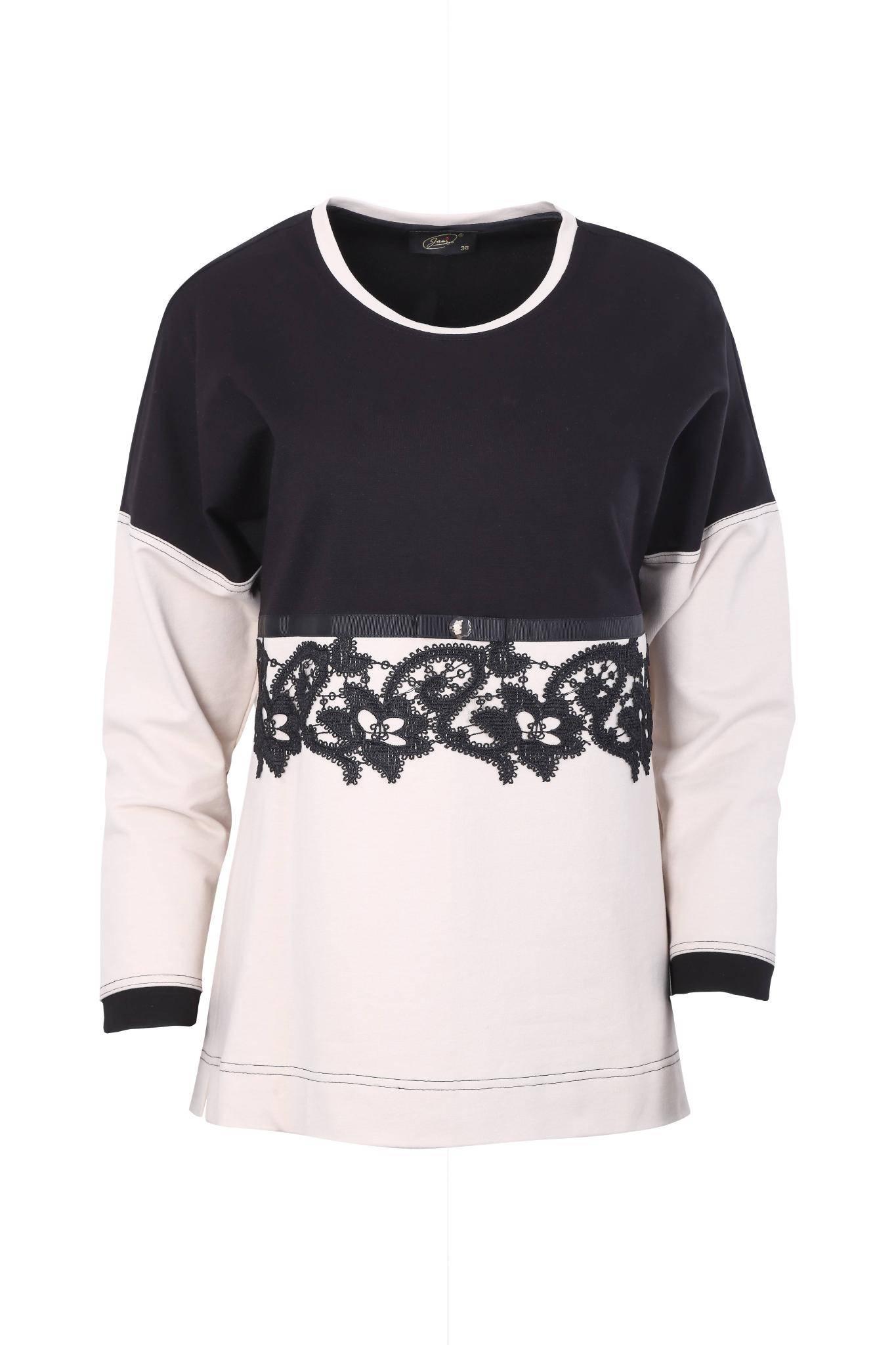 1011 dresowa bluza z gipiurową wstawką (1)