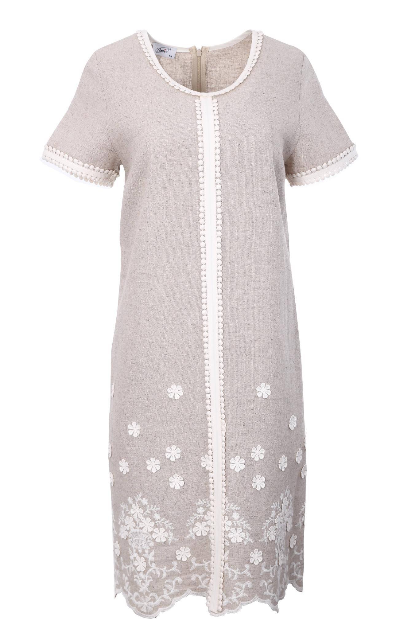 1199 Jumitex lniana sukienka z haftowanymi kwiatkami (2)