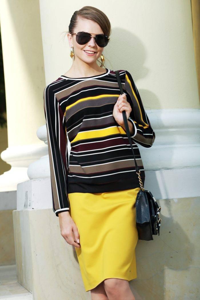 bluzka w paski żółto czarno bakłażanowe