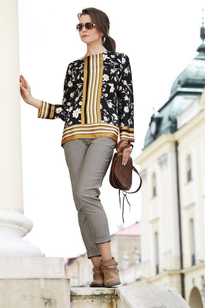 bluzka ze sztucznego jedwabiu
