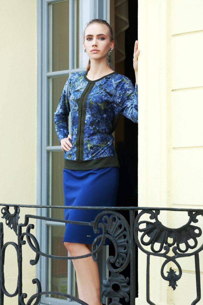 bluzka w kwiaty zielono-niebieska