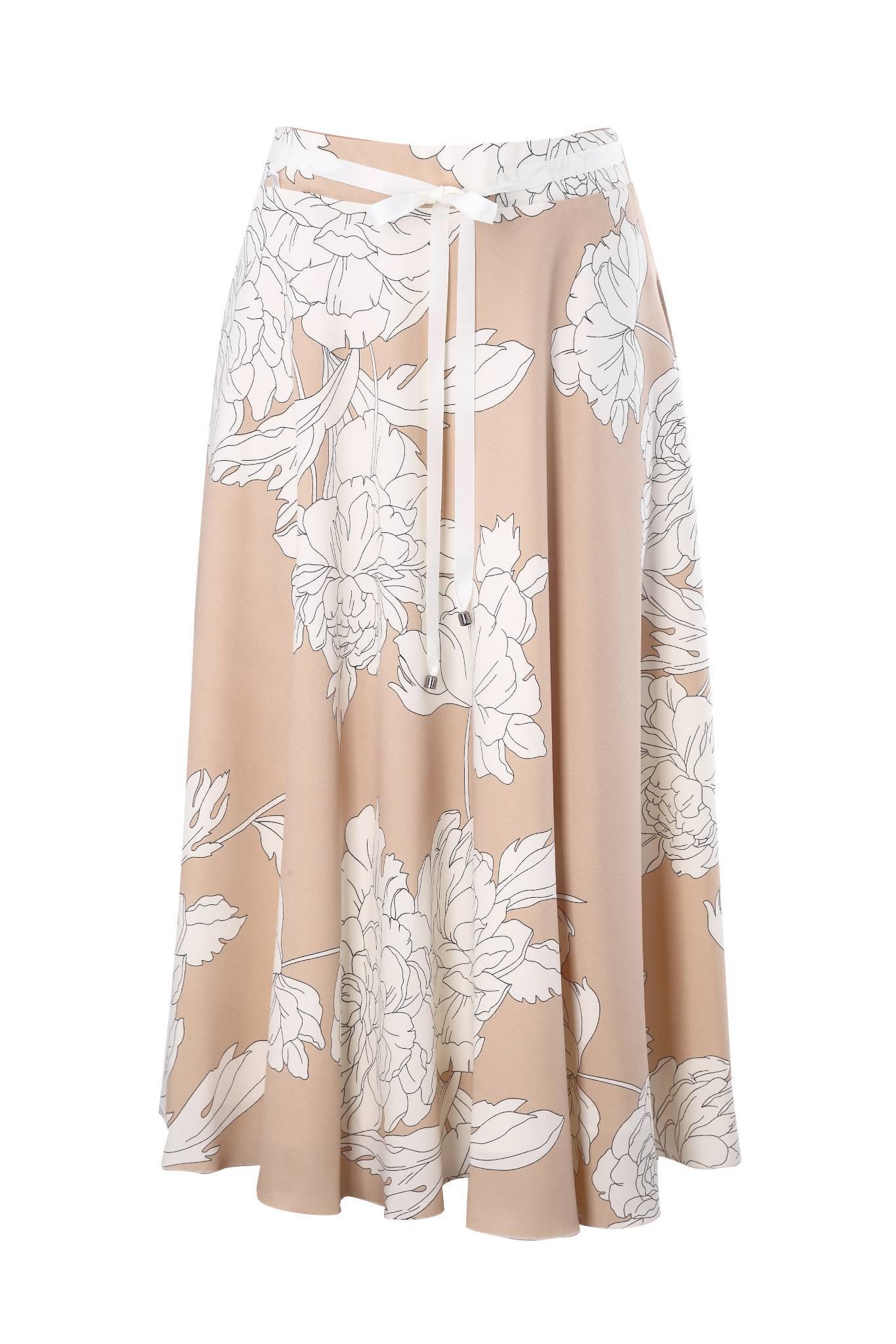 1255 Jumitex beżowa spódnica w kwiaty