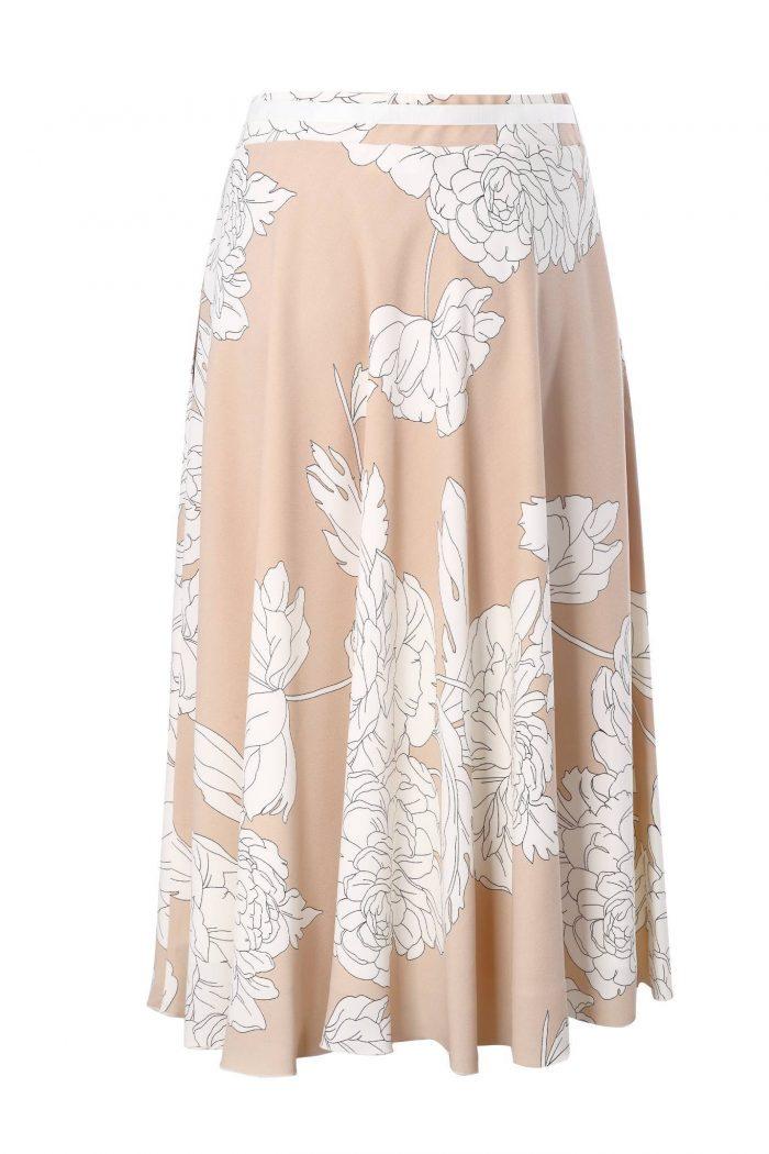 beżowa spódnica w kwiaty