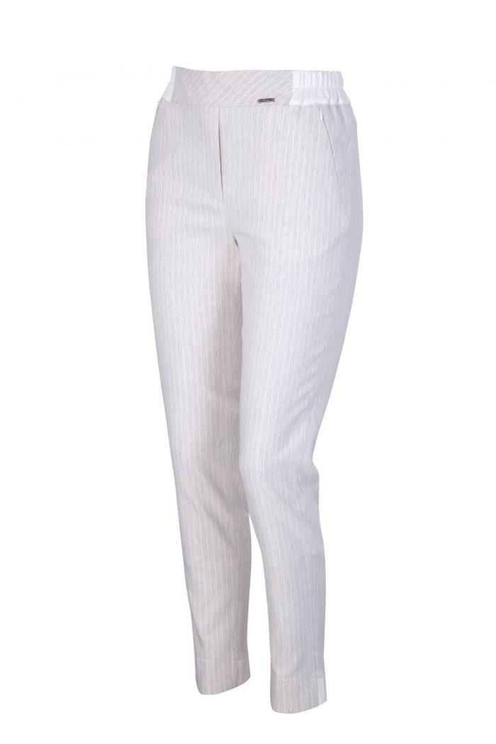 beżowe lniane eleganckie spodnie w paski