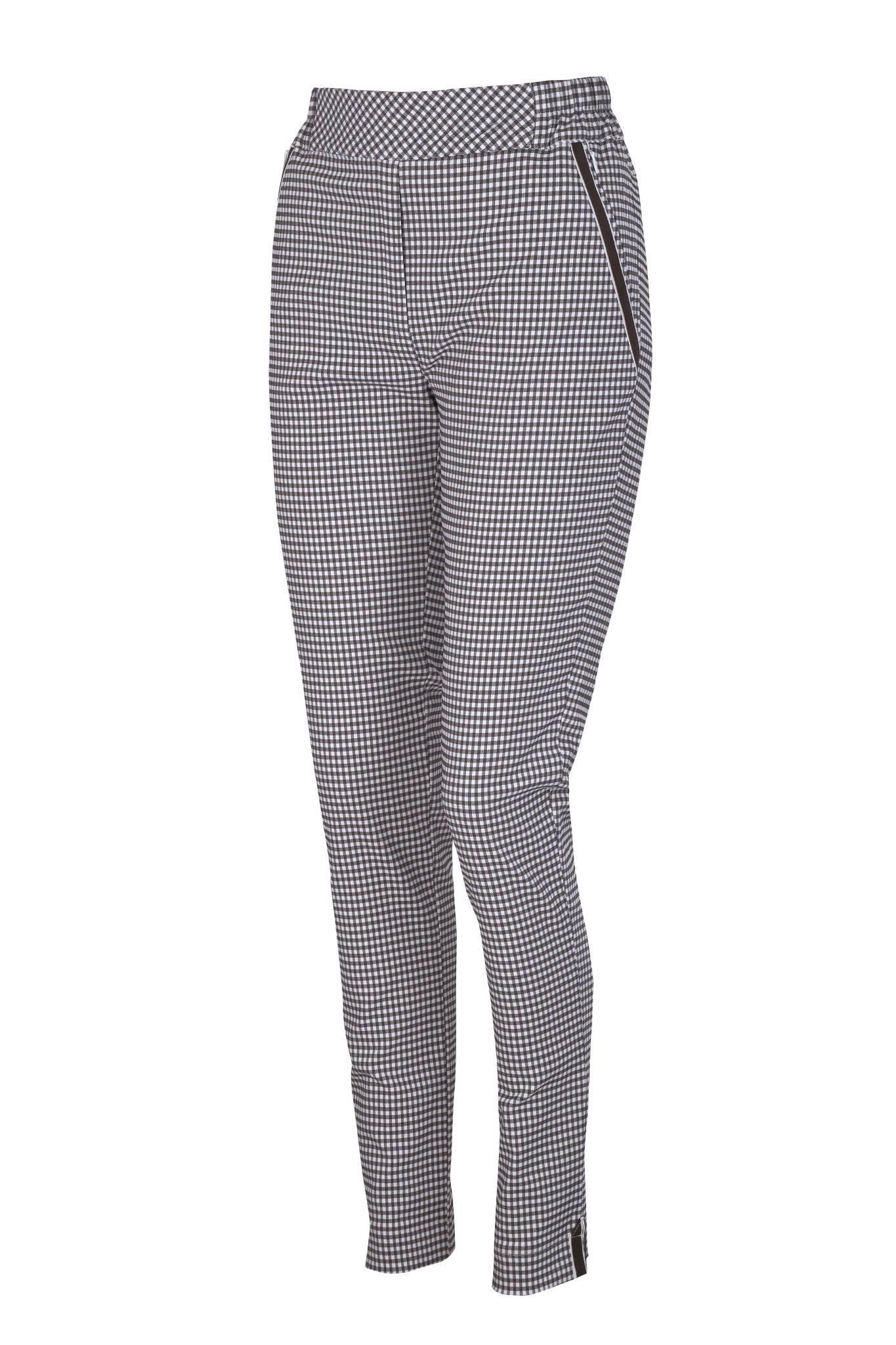 1260 Jumitex brązowe eleganckie spodnie w kratkę