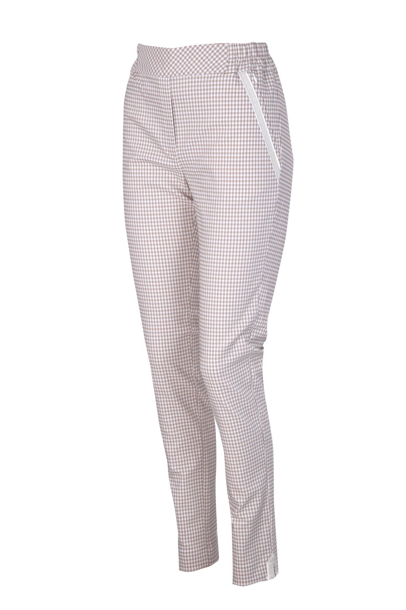 1260 Jumitex beżowe eleganckie spodnie w kratkę