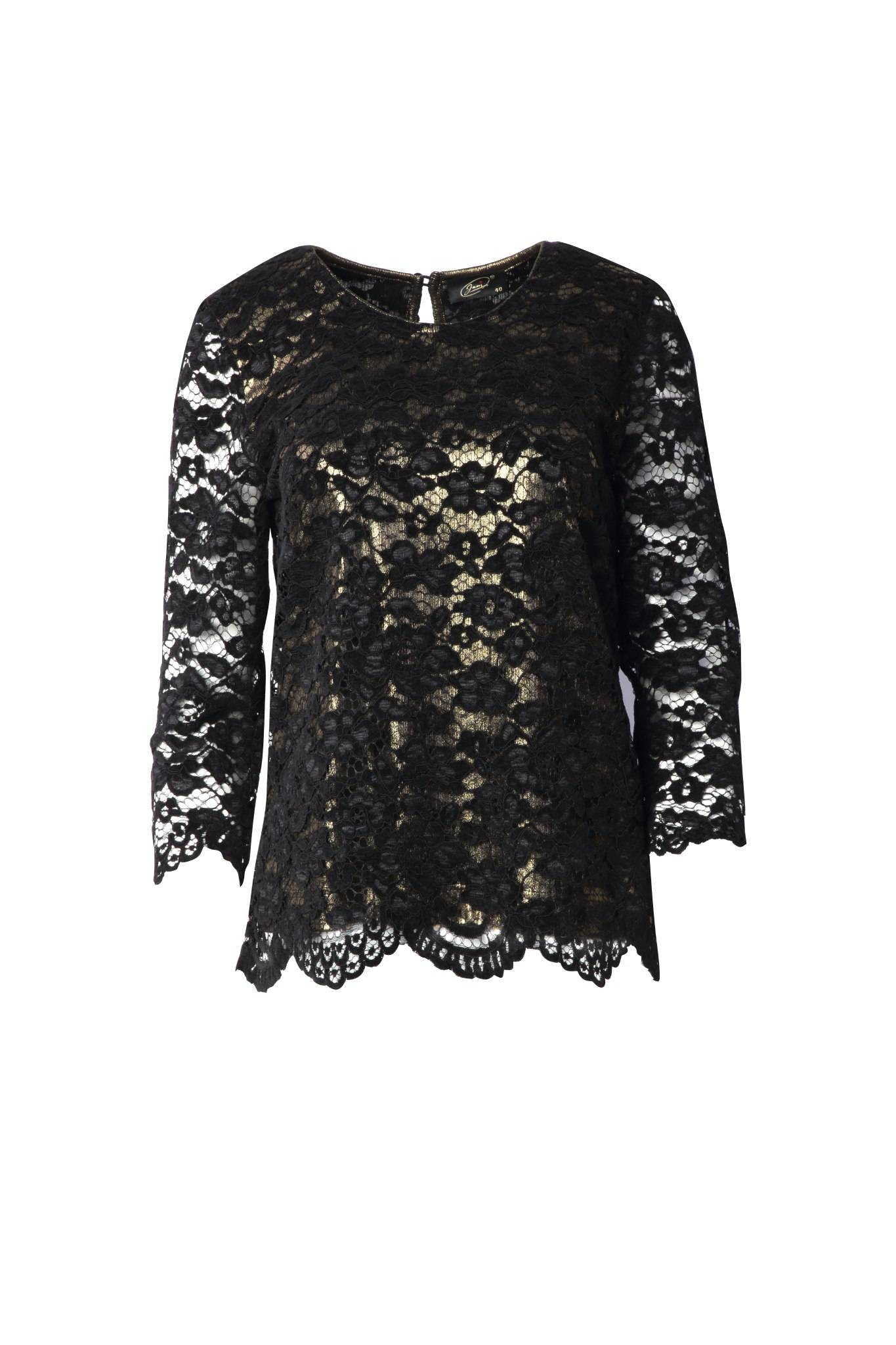 1239 Jumitex koronkowa bluzka czarna przod