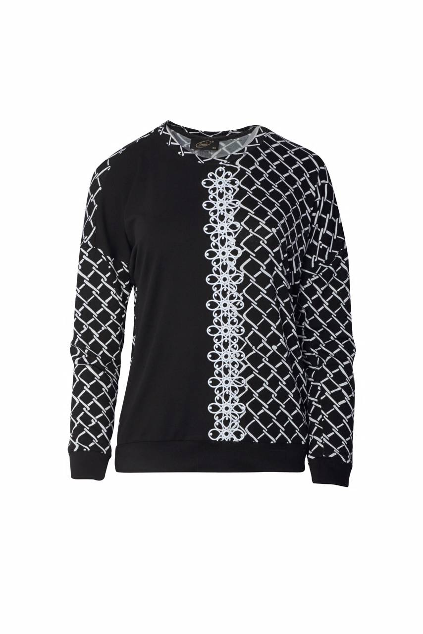 1299 Jumitex bluzka czarno-biala z aplikacja przod