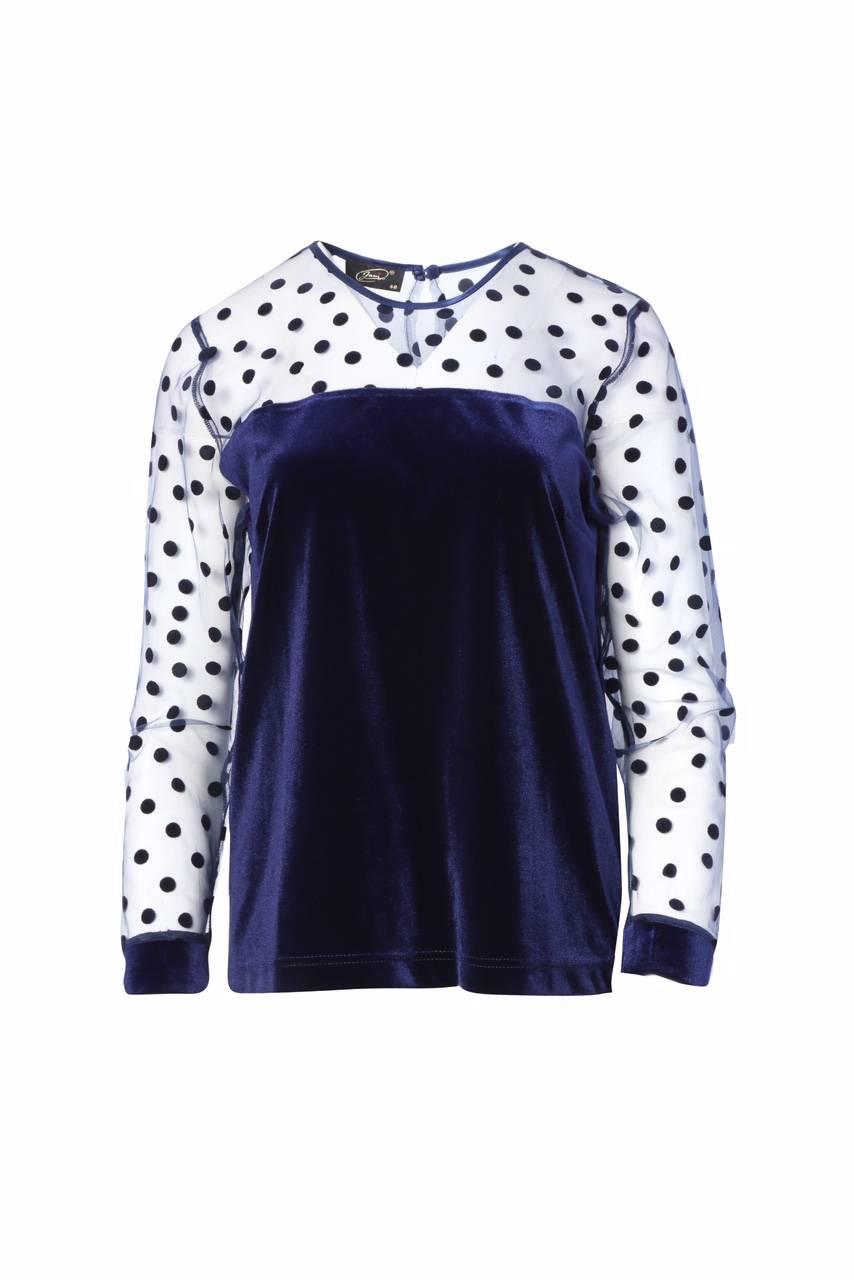 1083 Jumitex welurowa bluzka w kropki przod