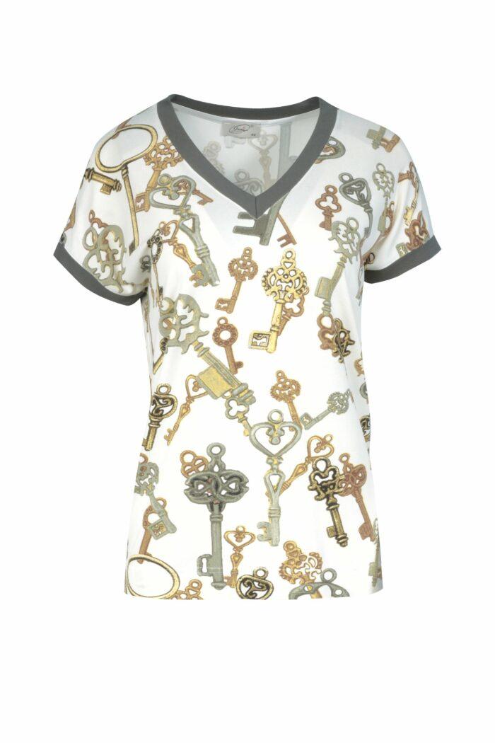 bluzka w klucze v-neck firmy Jumitex