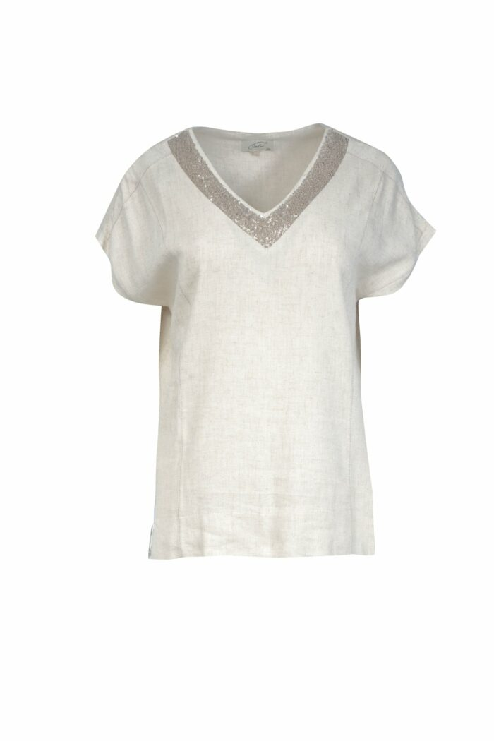 lniana bluzka z cekinami v-neck firmy Jumitex