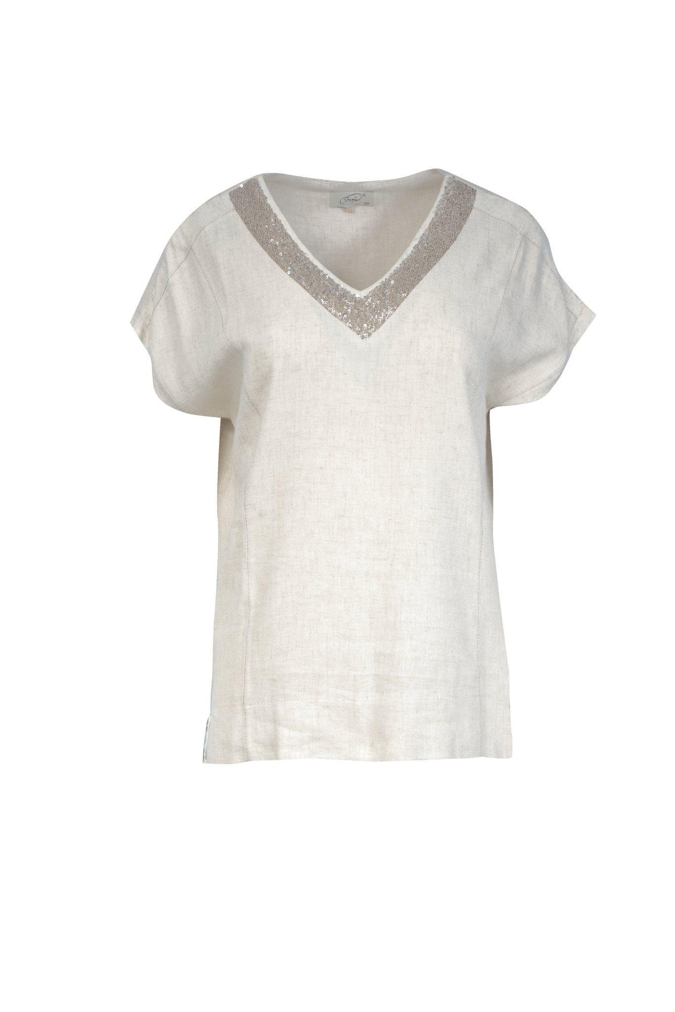1193 Jumitex lniana bluzka v-neck
