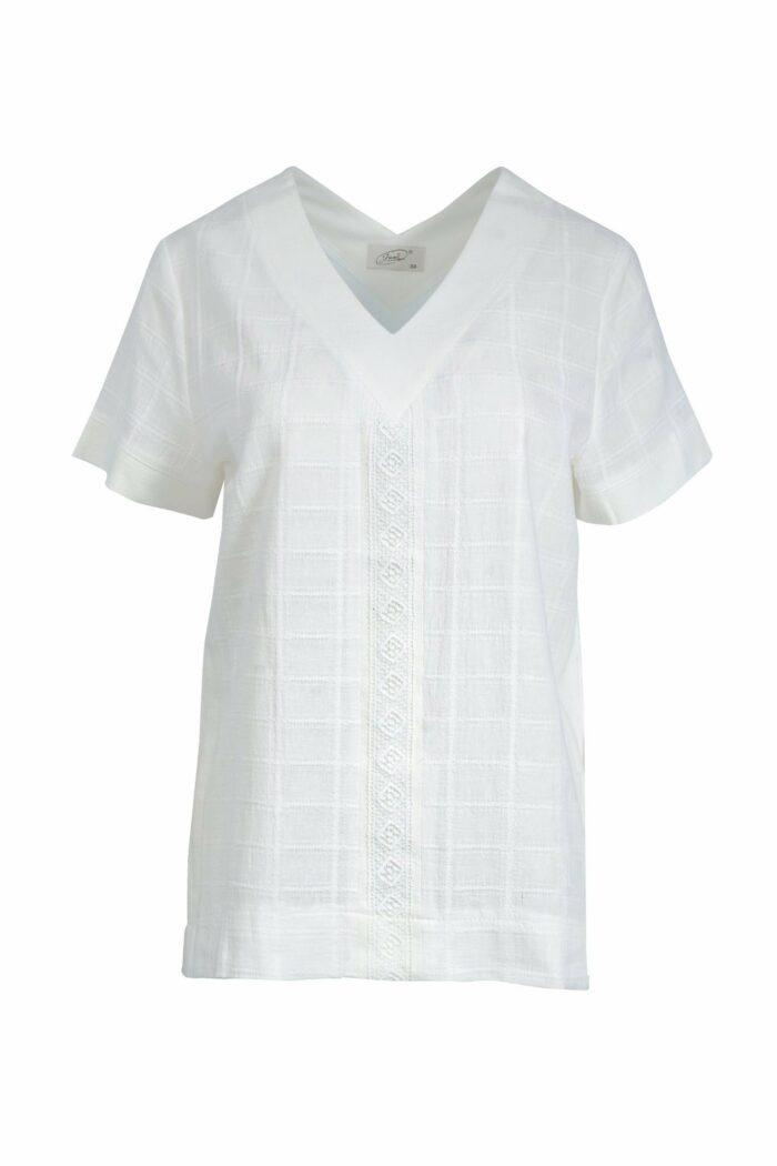 Biała bawełniana bluzka z koronką firmy Jumitex
