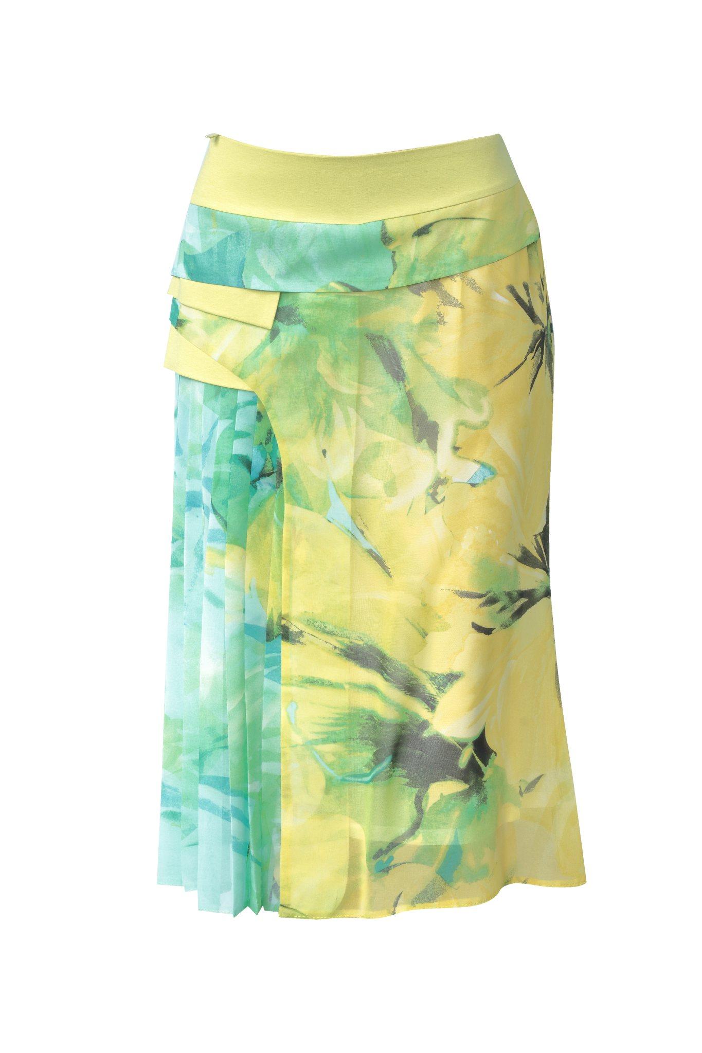 827 Jumitex plisowana spodnica w kwiaty