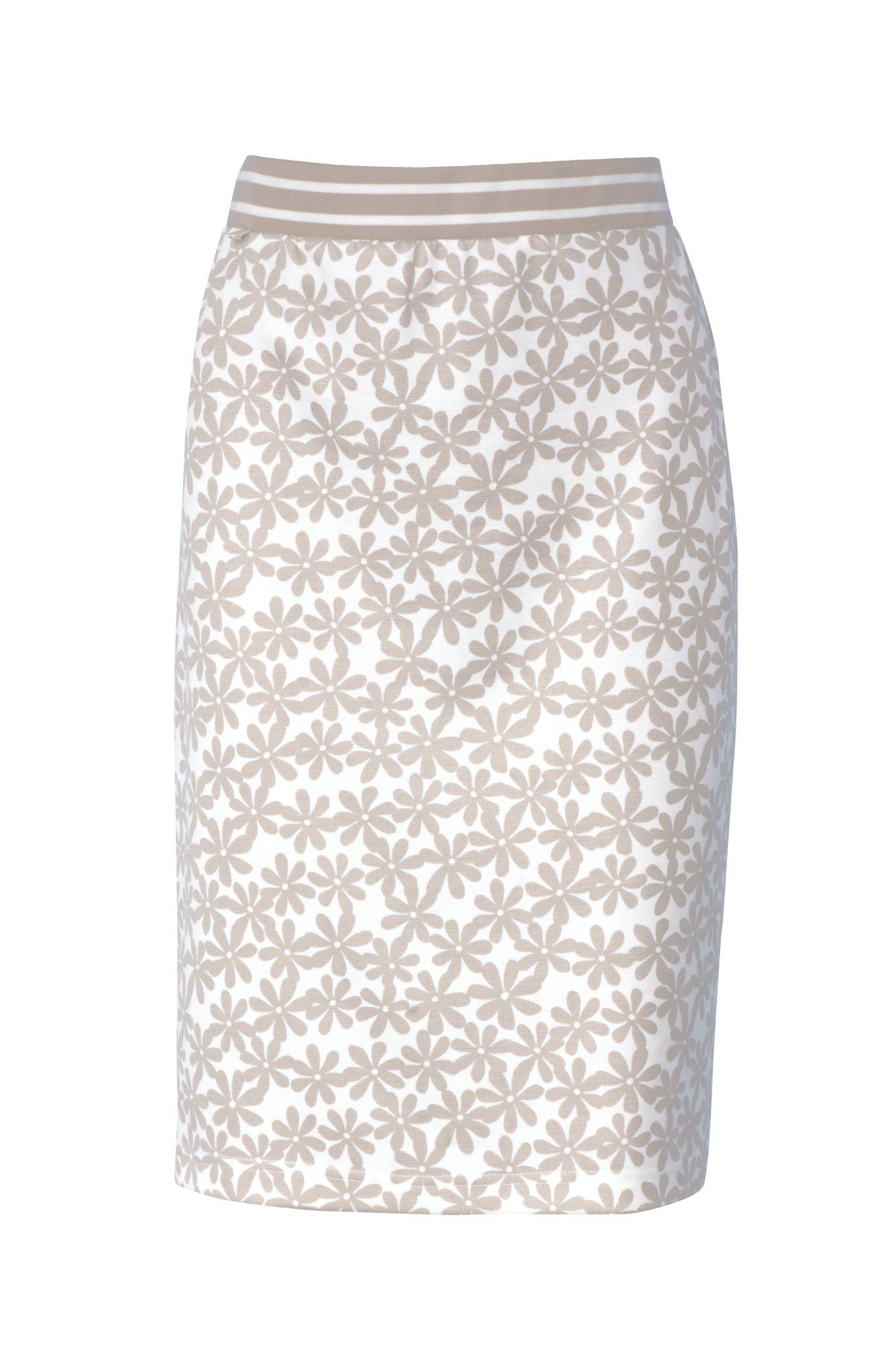 1044 Jumitex bezowa spodnica w kwiatki na gumie