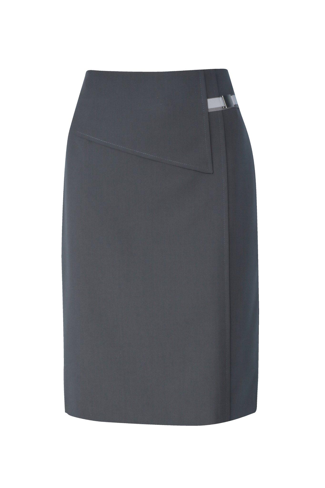 1106 Jumitex ciemnoszara spodnica z klamerka