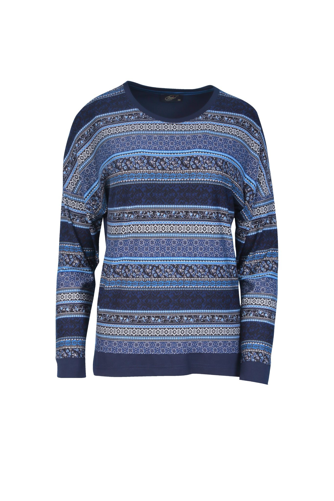 1106 Jumitex granatowo-niebieska bluzka we wzory