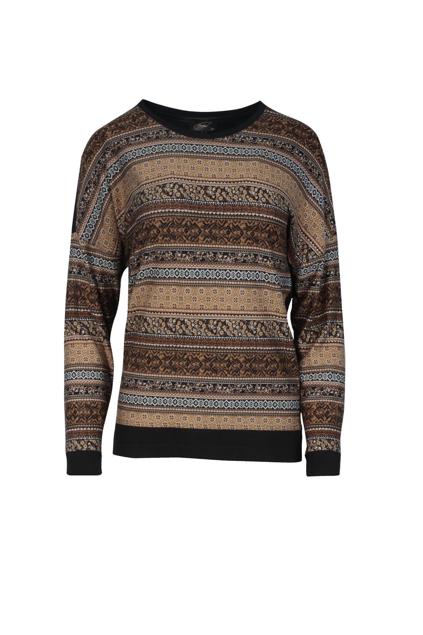 1106 Jumitex musztardowo-czarna bluzka we wzory