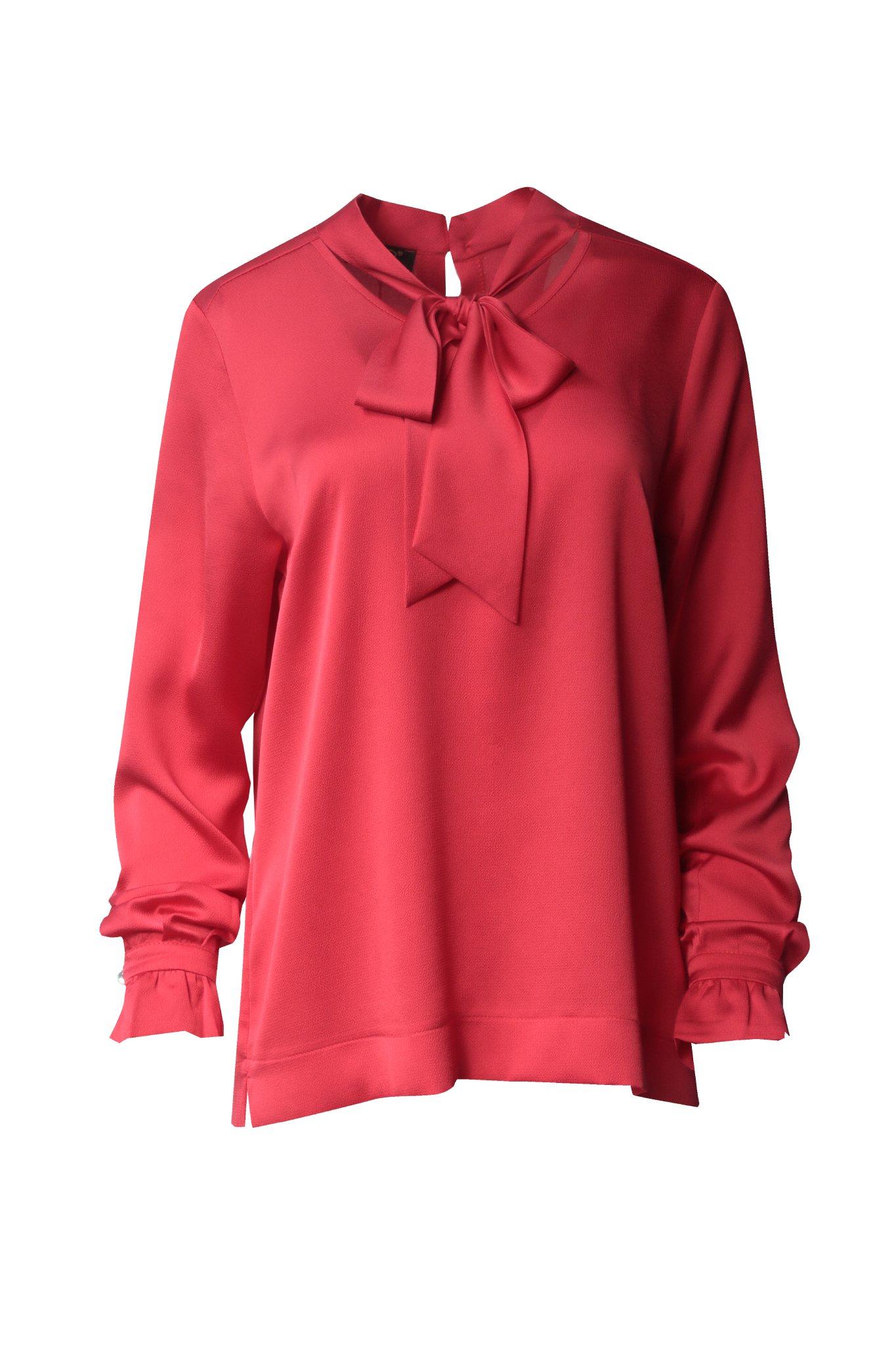 1150 Jumitex czerwona bluzka wiazana na kokarde