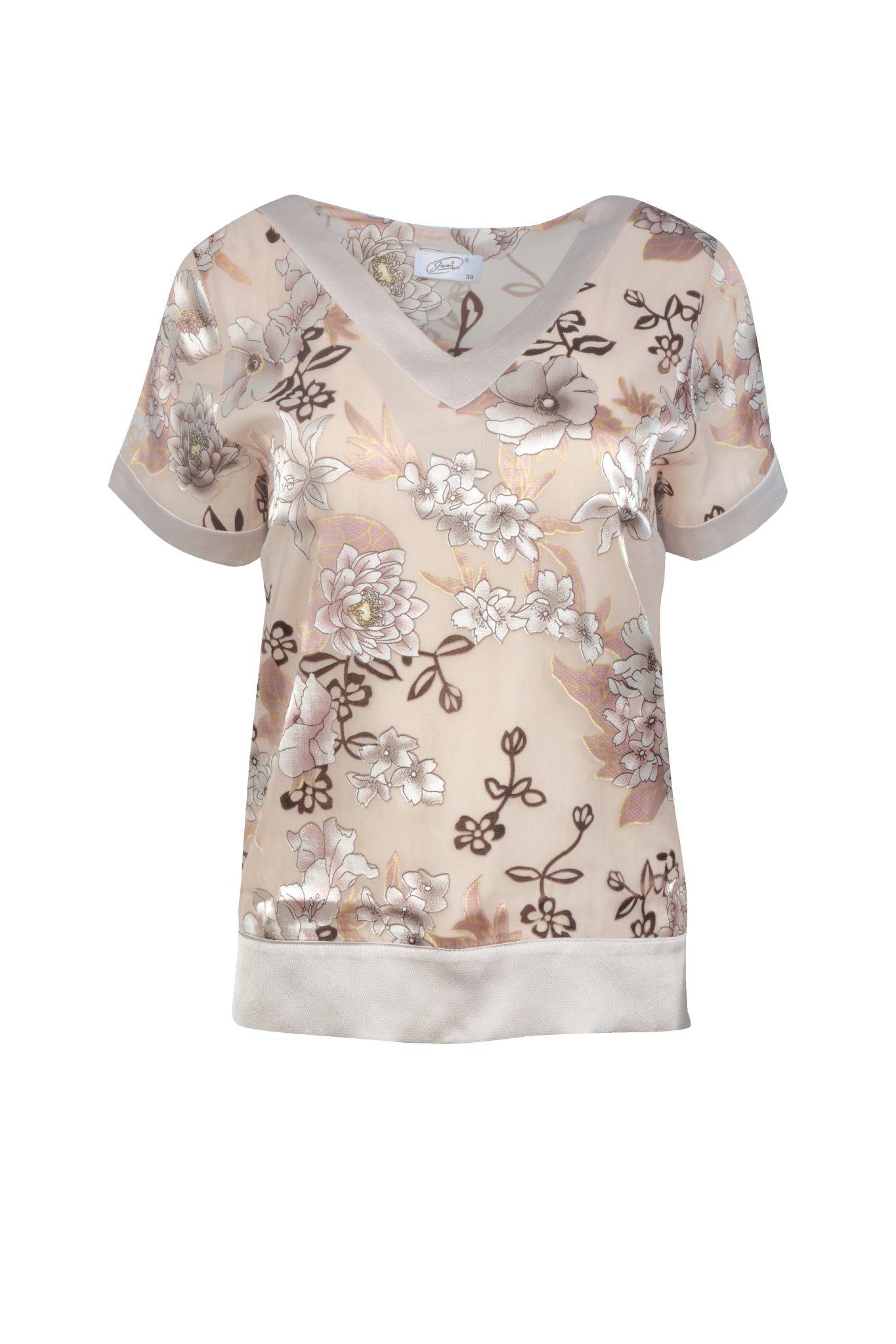 1194 Jumitex brazowa bluzka w kwiatki
