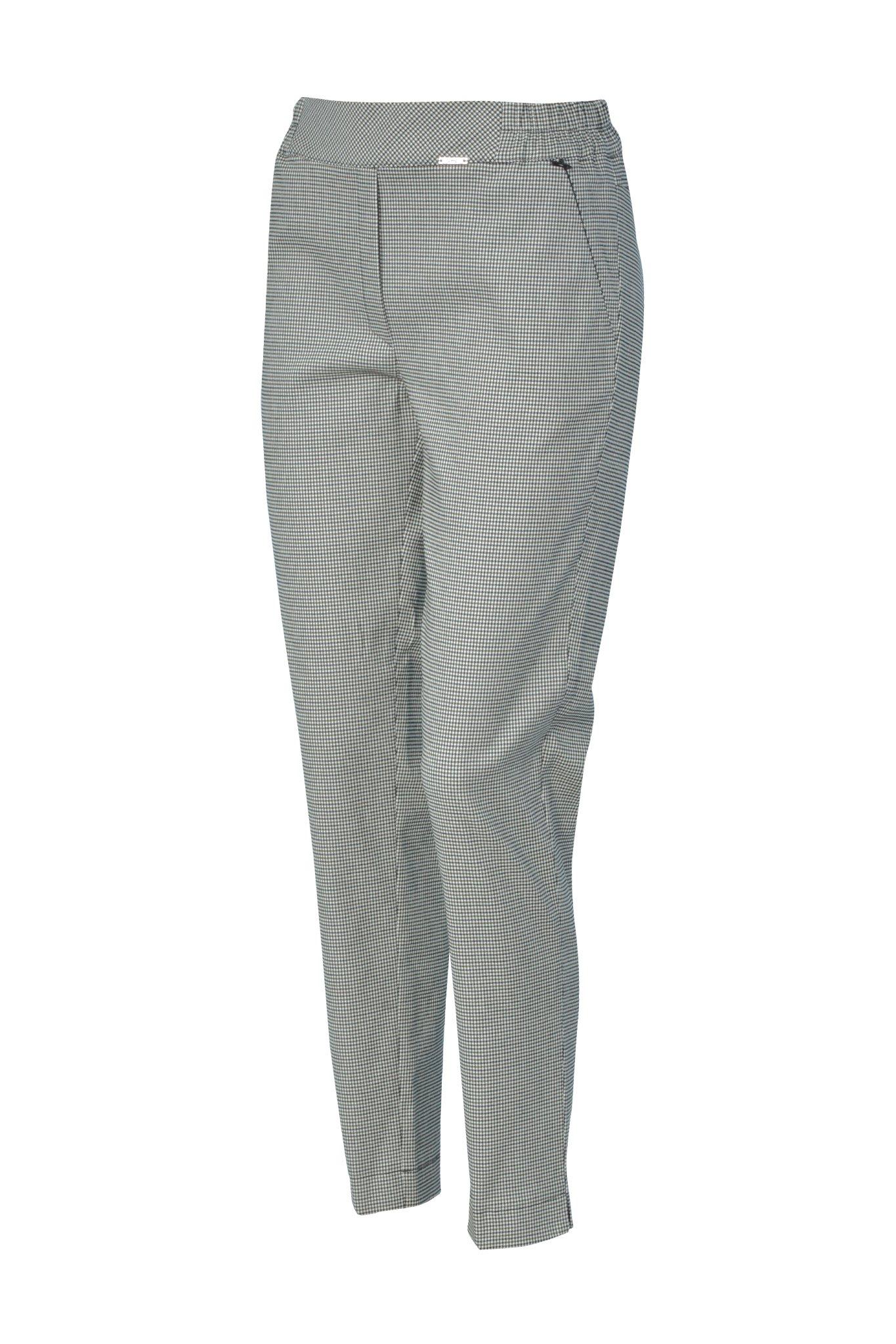 1203 Jumitex spodnie w drobna krateczke na gumie