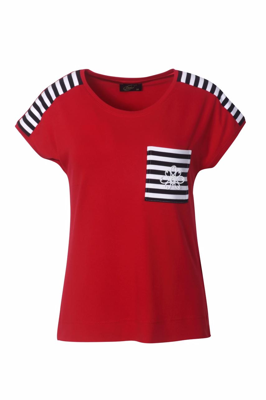 1308 Jumitex czerwona bluzka z ozdobna kieszonka