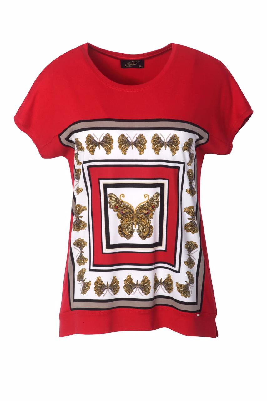 1311 Jumitex bluzka czerwona z kimonowym rekawem i aplikacja