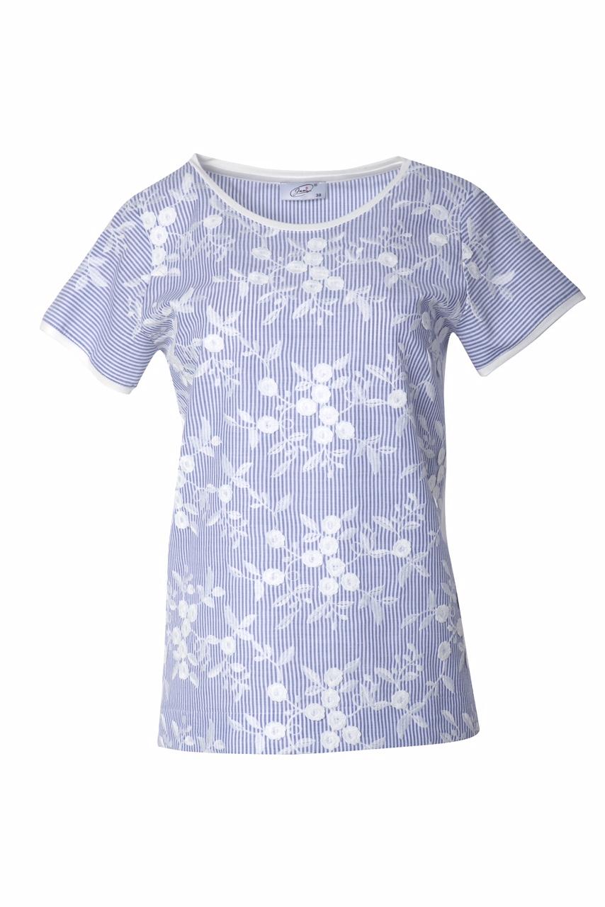 1316 Jumitex niebieska bluzka w paski i kwiatki