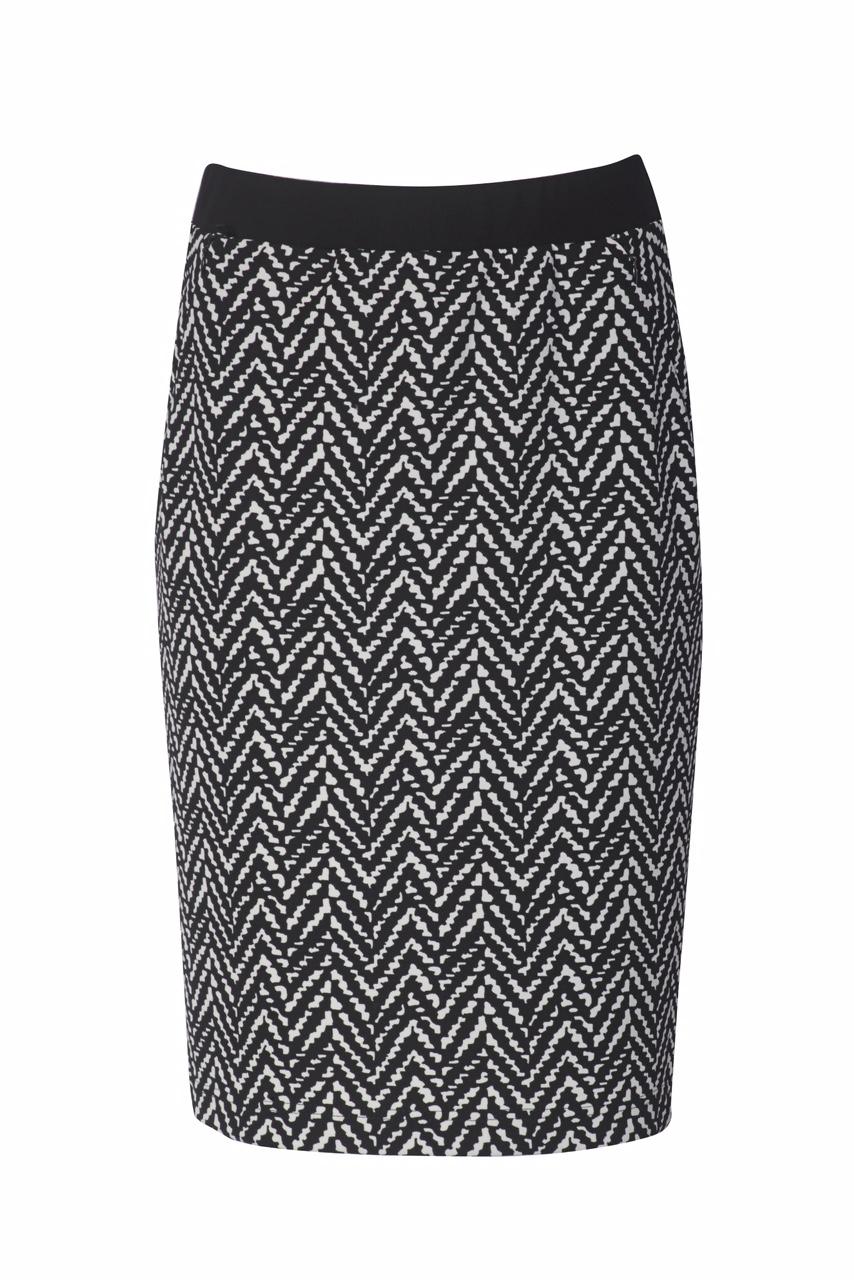 1309 Jumitex spodnica czarno-biala na gumie z kieszeniami