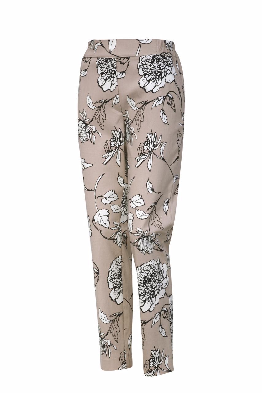 1322 Jumitex beżowe spodnie w kwiaty na gumce