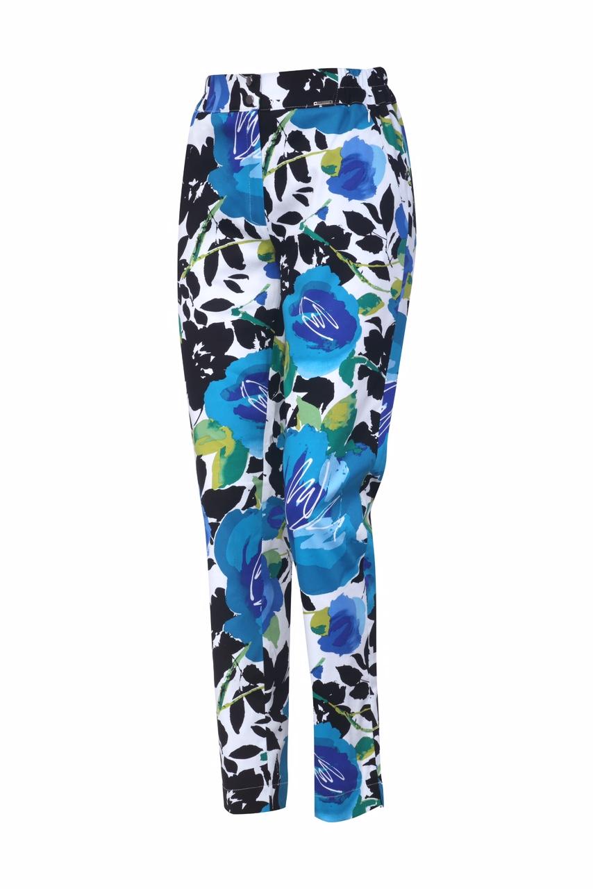 1315 Jumitex bawelniane spodnie w kwiaty