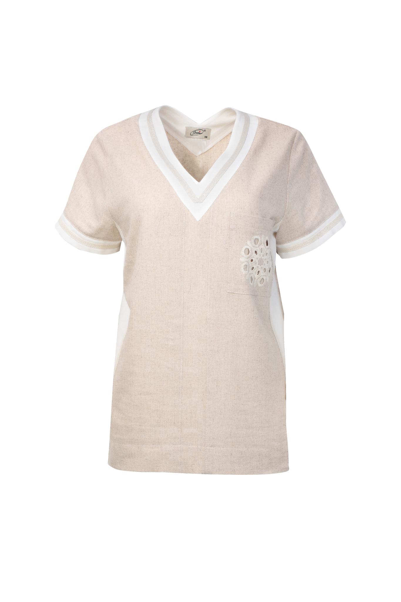 1332 Jumitex lniana bluzka z haftem bezowa (1)