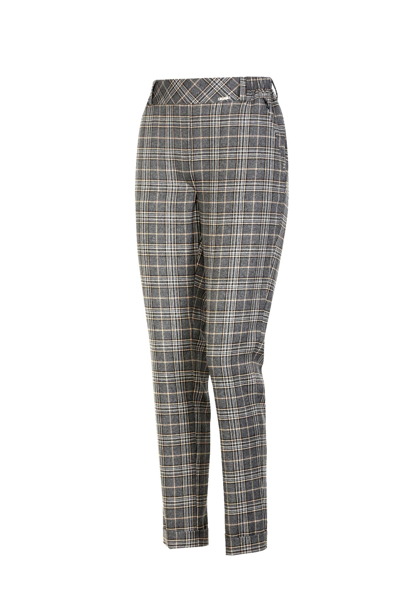 1334 Jumitex eleganckie spodnie w krate szare
